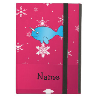 Personalized name narwhal pink snowflakes iPad folio cases