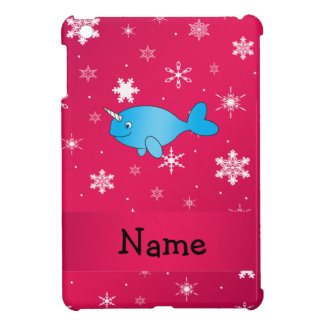 Personalized name narwhal pink snowflakes case for the iPad mini