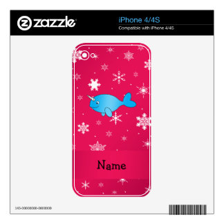 Personalized name narwhal pink snowflakes iPhone 4 skins