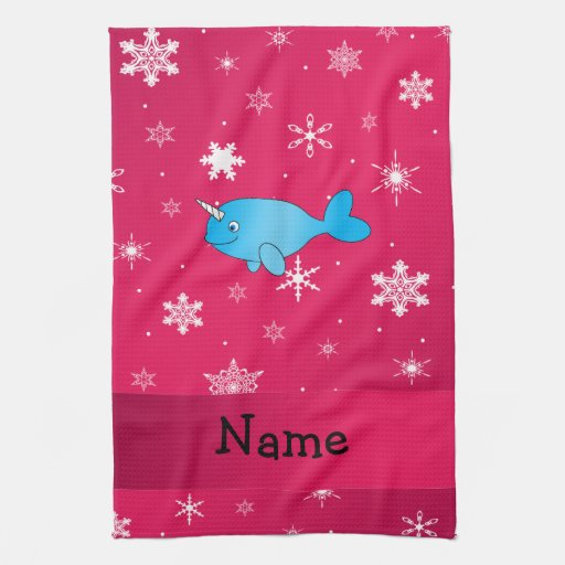 Personalized name narwhal pink snowflakes hand towel