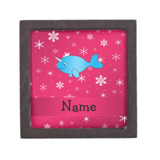Personalized name narwhal pink snowflakes premium trinket box