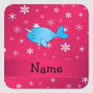Personalized name narwhal pink snowflakes stickers