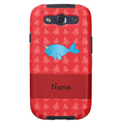 Personalized name narwhal red christmas trees samsung galaxy s3 cover