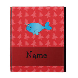 Personalized name narwhal red christmas trees iPad folio cases
