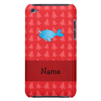 Personalized name narwhal red christmas trees iPod touch cases