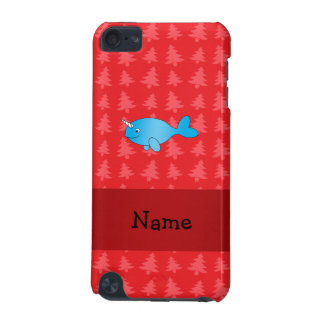 Personalized name narwhal red christmas trees iPod touch (5th generation) cases