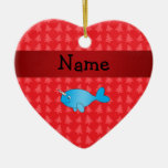 Personalized name narwhal red christmas trees Double-Sided heart ceramic christmas ornament