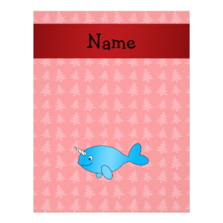 Personalized name narwhal red christmas trees flyers