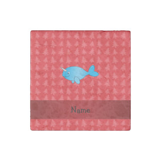 Personalized name narwhal red christmas trees stone magnet