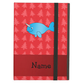 Personalized name narwhal red christmas trees iPad cases
