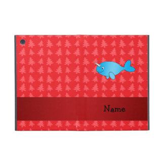 Personalized name narwhal red christmas trees cover for iPad mini