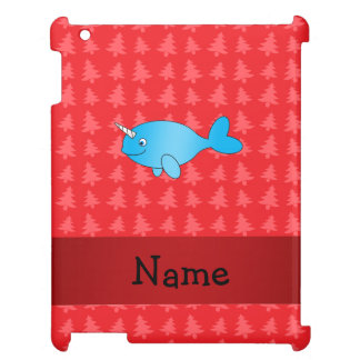 Personalized name narwhal red christmas trees iPad cover