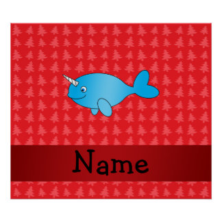 Personalized name narwhal red christmas trees poster