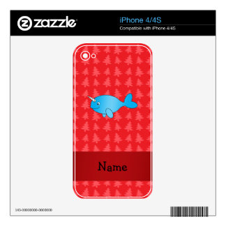 Personalized name narwhal red christmas trees skin for the iPhone 4
