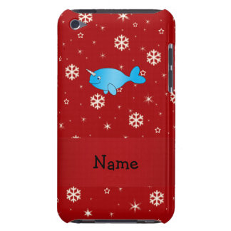 Personalized name narwhal red snowflakes barely there iPod cover