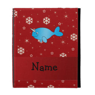 Personalized name narwhal red snowflakes iPad case