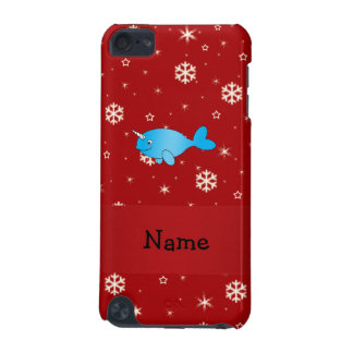 Personalized name narwhal red snowflakes iPod touch (5th generation) cover