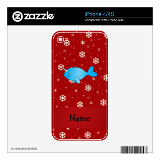 Personalized name narwhal red snowflakes decal for the iPhone 4S