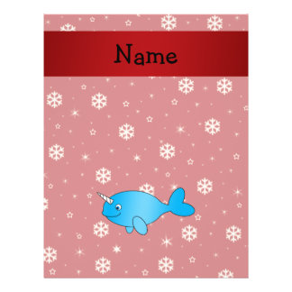 Personalized name narwhal red snowflakes flyer