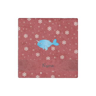 Personalized name narwhal red snowflakes stone magnet