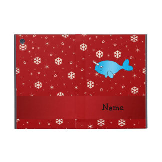 Personalized name narwhal red snowflakes iPad mini covers