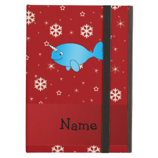 Personalized name narwhal red snowflakes iPad folio cases