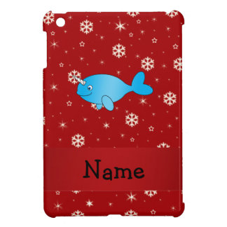 Personalized name narwhal red snowflakes cover for the iPad mini
