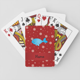 Personalized name narwhal red snowflakes deck of cards