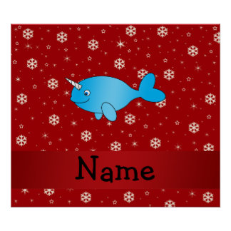 Personalized name narwhal red snowflakes poster