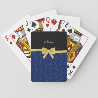 Personalized name navy blue anchors glitter bow poker cards