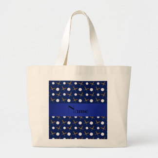 Personalized name navy blue baseball tote bag
