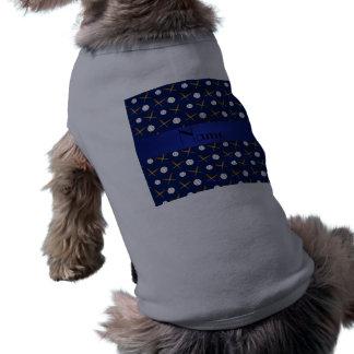 Personalized name navy blue baseball dog tee shirt