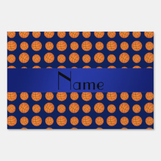 Personalized name navy blue basketballs lawn signs
