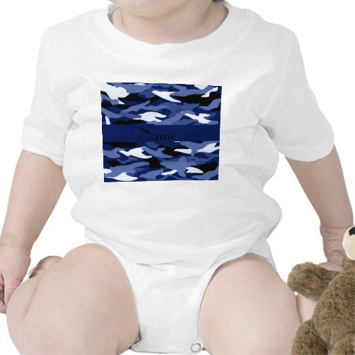 Personalized name navy blue camouflage bodysuits
