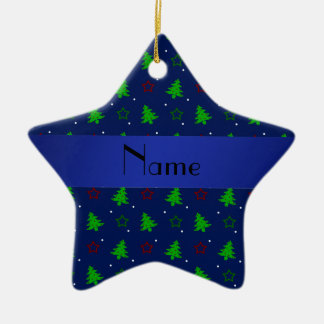 Personalized name navy blue christmas stars christmas ornament