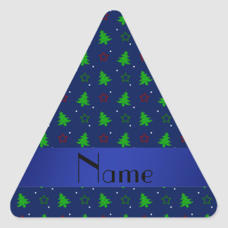 Personalized name navy blue christmas stars triangle sticker