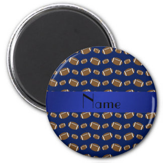 Personalized name navy blue footballs 2 inch round magnet