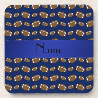 Personalized name navy blue footballs coasters