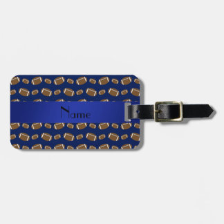 Personalized name navy blue footballs luggage tag