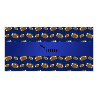 Personalized name navy blue footballs customized photo card
