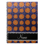 Personalized name navy blue glitter basketballs note book