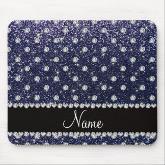 Personalized name navy blue glitter diamonds mouse pad
