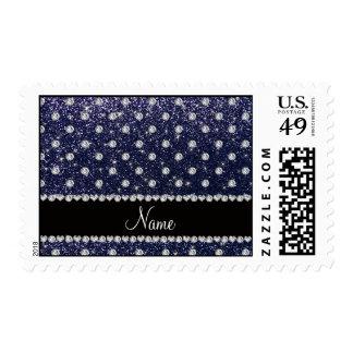 Personalized name navy blue glitter diamonds postage