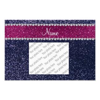 Personalized name navy blue glitter pink stripe photo print