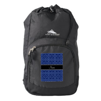 Personalized name navy blue greek key pattern backpack