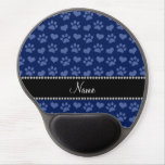 Personalized name navy blue hearts and paw prints gel mouse pad