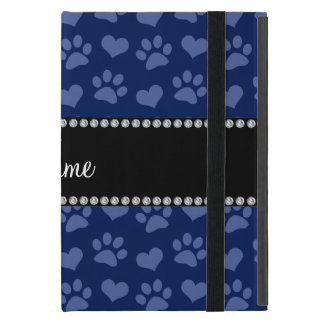 Personalized name navy blue hearts and paw prints iPad mini case