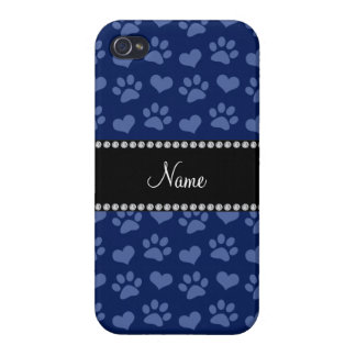 Personalized name navy blue hearts and paw prints iPhone 4 case