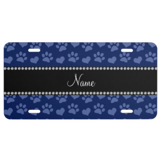 Personalized name navy blue hearts and paw prints license plate