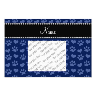 Personalized name navy blue hearts and paw prints photo